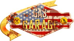 Free Old Battered Vintage Garage And Gas Station Sign,super Grungy Retro Style Vector Stock Photos - 172573513