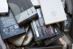 Old batteries from mobile phones Royalty Free Stock Images