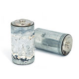 Old battery. On white Stock Images