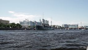 Old battle ship in a city. At sunny day stock video