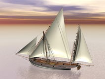 Old battle ship - 3D Render Stock Images