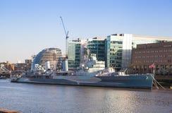 Old battle ship.  London. LONDON, UK - APRIL15, 2015: old battle ship Royalty Free Stock Photo