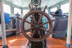 Old battle ship`s wheel Royalty Free Stock Photography