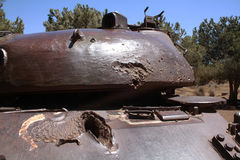 Old battle tank with bullet hole Royalty Free Stock Photography