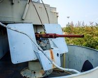 Old battleship anti aircraft machine gun Royalty Free Stock Photos