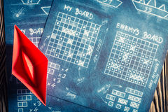 Old battleship paper game as a strategy game Royalty Free Stock Photo