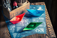Old battleship paper game with red and blue ships Stock Image