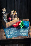 Old battleship paper game for two players Royalty Free Stock Image
