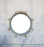 Old battleship round window Royalty Free Stock Images