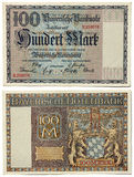 Old Bavarian Money. Ancient Bavarian currency notes issued by Bayerische Notenbank in 1922. 100 Marks Stock Images