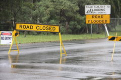 Old bay road closed Burpengay. BRISBANE, AUSTRALIA - JAN 25 : One year on Brisbane flooding again, old bay road closed Burpengay January 25, 2012 in Brisbane Royalty Free Stock Photos