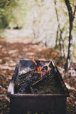 Old BBQ with fire on the forest background Royalty Free Stock Images