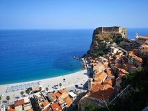 Scilla old historical town, Italy. Old beach town of Scilla, Italy royalty free stock photos
