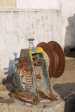 Old beaching winch used for fisherman's boat Royalty Free Stock Photography