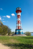 Old beacon at the river Elbe close to the port of Hamburg Royalty Free Stock Photography