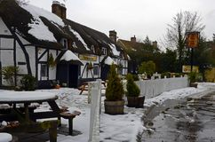 The Old Beams Inn Ibsley Ringwood. The Old Beams Inn in Winter at Ibsley Stock Photography