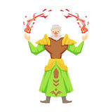 Old bearded magician making magical passes. Colorful fairy tale character Illustration Royalty Free Stock Image