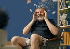 Old bearded man with alzheimer desease. Drown image of losing of mind. Old bearded man with alzheimer desease sitting and suffering from headache. Illness royalty free stock image