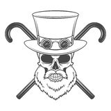 Old bearded steampunk gentleman skull with goggles Royalty Free Stock Images