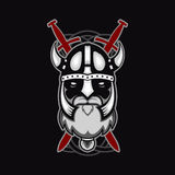 Old bearded vector viking warrior logo, mascot template. viking head, profile view, angry, sport team. isolated on black backgroun Royalty Free Stock Image