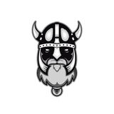 Old bearded vector viking warrior logo, mascot template. viking head, profile view, angry, sport team. isolated on white backgroun Royalty Free Stock Photos