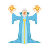 Old bearded wizard in a blue robe holding two magic balls in his hands. Colorful fairy tale character Illustration Stock Photos