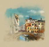 Old beautiful bridge over a canal in Venice. Italy. Watercolor sketch, illustration. Classic view of the canals in Venice, landscape with bridge. Wacom tablet Stock Illustration