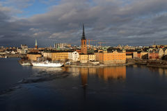 Old beautiful buildings in Riddarholmen by the sea Stock Photo