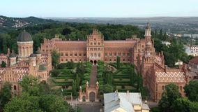 Old beautiful castle University of Chernivtsi Ukraine aerial drone view. Old beautiful castle University of Chernivtsi Ukraine aerial view stock video footage