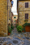 Old beautiful city in the sun of Tuscany, Pienza, Italy Stock Photos