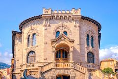 The old beautiful courthouse in Monaco. On a hot afternoon royalty free stock photo