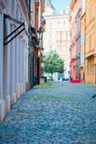 Old beautiful empty narrow streets in small city of Prague in Czech Republic Stock Photo