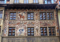 Old beautiful fresco on medieval building in Lucern, Switzerland Royalty Free Stock Image