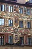 Old beautiful fresco on medieval building in Lucern, Switzerland royalty free stock photo