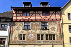 Old beautiful fresco on medieval building in Stein am Rhein, Switzerland. STEIN AM RHEIN, SWITZERLAND - MAY 05, 2013: Old beautiful fresco on medieval building royalty free stock photography