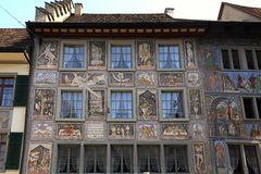 Old beautiful fresco on medieval building in Stein am Rhein, Switzerland. STEIN AM RHEIN, SWITZERLAND - MAY 05, 2013: Old beautiful fresco on medieval building royalty free stock photo