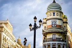Old historic building in center of Seville, Spain Royalty Free Stock Photos