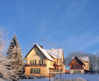 Old  beautiful homes in winter , Lithuania Royalty Free Stock Photography