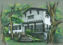 Old beautiful house in Bayonne, France. drawing Stock Photo