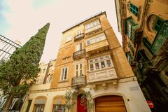 An old beautiful house in the centre of the capital city Valetta in Malta. An old beautiful house in the center of the capital city Valetta in Malta Stock Image