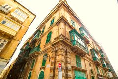 An old beautiful house in the centre of the capital city Valetta in Malta. An old beautiful house in the center of the capital city Valetta in Malta Royalty Free Stock Photography