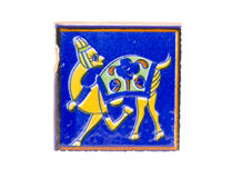 Old beautiful indian tile with camel symbol isolated Royalty Free Stock Photos