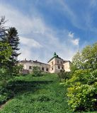 Old beautiful medieval castle on the hill stock image