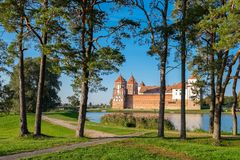 Old beautiful park in Mir village, Belarus. Stock Image