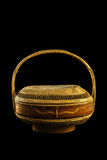 Old beautiful rattan handbag. Royalty Free Stock Photos