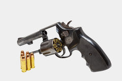 Old beautiful revolver and shots. It's starting of crime vector illustration
