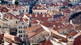Old and Beautiful Roofs of Dubrovnik with Old Bell Tower stock photography