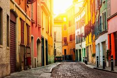 Old street in Parma. Old beautiful street in Parma, Emilia-Romagna, Italy royalty free stock photography