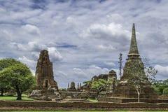 Old Beautiful Thai Temple wat Mahathat, Ayutthaya Historical Par. K, Ayutthaya, Thailand Stock Photography
