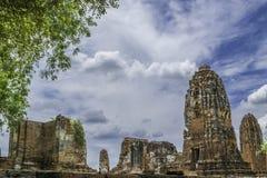 Old Beautiful Thai Temple wat Mahathat, Ayutthaya Historical Par. K, Ayutthaya, Thailand Royalty Free Stock Photos